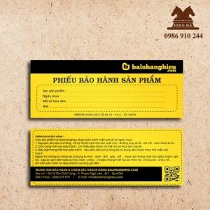 Mẫu phiếu bảo hành PBH01
